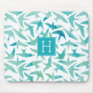 Teal Watercolor Birds Pattern Mouse Pad
