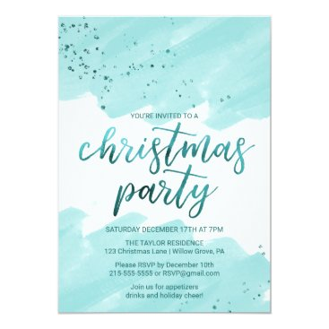 Beach Themed Teal Watercolor Christmas Party Card