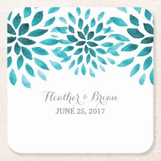 Teal Watercolor Chrysanthemum Paper Coasters