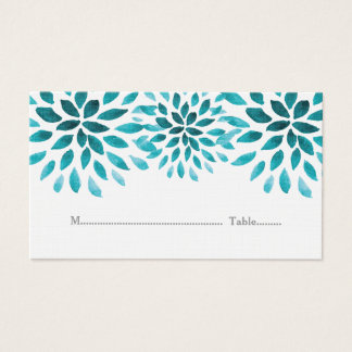 Teal Watercolor Chrysanthemum Place Cards