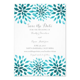 Teal Watercolor Chrysanthemum Save the Date Card
