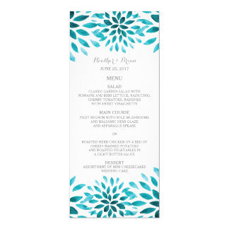 Teal Watercolor Chrysanthemum Wedding Menu Card