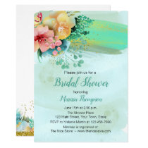 Teal Watercolor Floral Bridal Shower Invitation