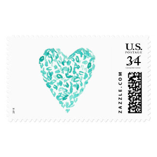 Teal Watercolor Heart Stamp