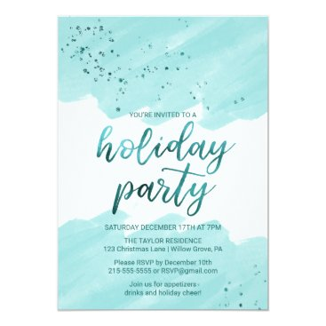 Beach Themed Teal Watercolor Holiday Party Card