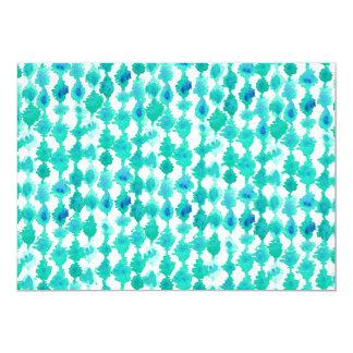 "Teal Watercolor Ikat Pattern 5"" X 7"" Invitation Card"
