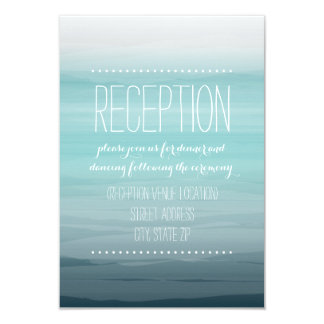 Teal Watercolor Inspired Ombre Wedding Reception Card