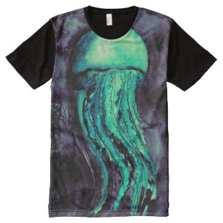 Teal Watercolor Jellyfish All-Over Print T-shirt