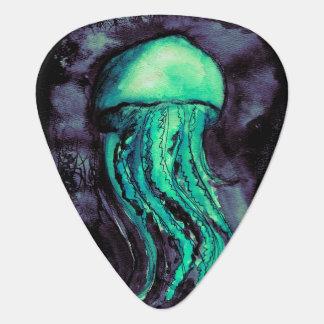 Teal Watercolor Jellyfish Guitar Pick