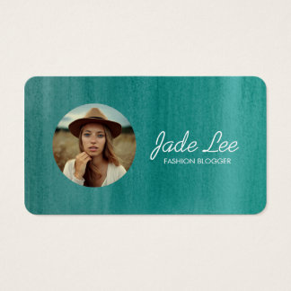 Teal Watercolor Modern Photo Circle Business Card