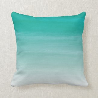 """Teal Watercolor Ombre 16""""x16"""" Pillow"""