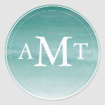 Teal Watercolor Ombre Monogram Round Sticker
