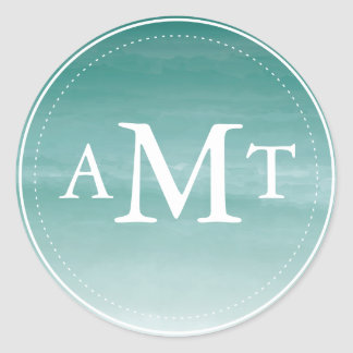 Teal Watercolor Ombre Monogram Classic Round Sticker