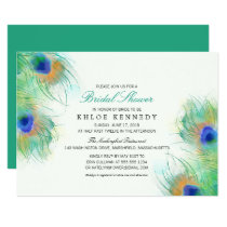 Teal Watercolor Peacock Feathers Bridal Shower Card