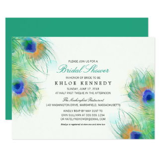 Teal Watercolor Peacock Feathers Bridal Shower Invitation
