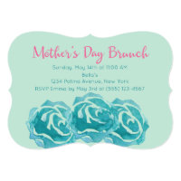 Teal Watercolor Roses Mother's Day Brunch Card