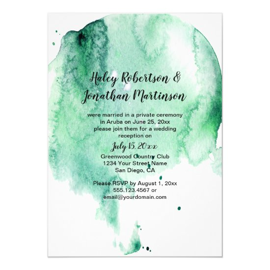 Teal Watercolor Splash Reception Only Invitation