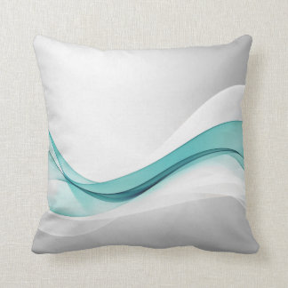 Teal Wave Abstract Throw Pillow