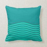 Teal Wave Ruffle 3D Pillow