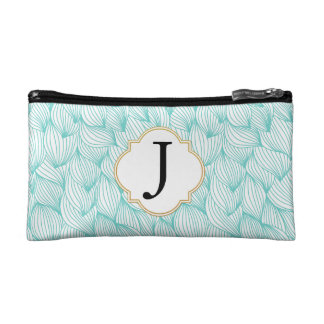 Teal Waves Monogrammed Small Makeup Bag