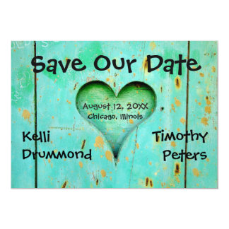 Teal Weathered Wood Heart - Wedding Save the Date Card