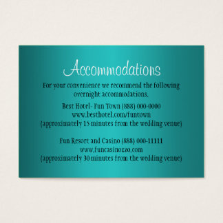 Teal Wedding Accommodation - Reception Cards