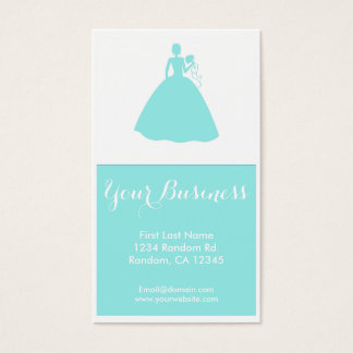 Teal wedding dress custom business cards