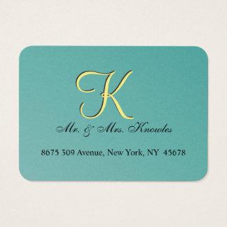 Teal Wedding Favor Monogram Business Card