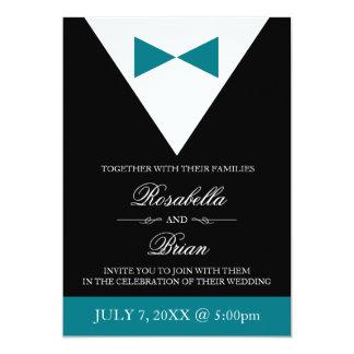 Teal Wedding Invitations | Black Tux & White Dress