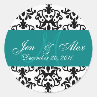 Teal Wedding Monogram Names Date Paisley Seal