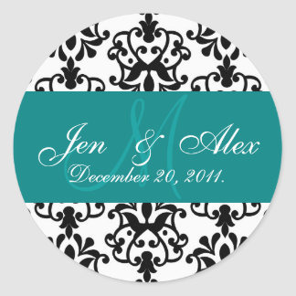 Teal Wedding Monogram Names Date Paisley Seal Classic Round Sticker