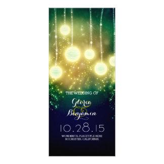 teal wedding programs - romantic lanterns lights