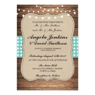 Teal Wedding Rustic Burlap Wood Lights Barn Invite
