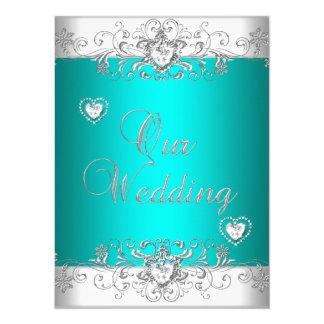 Teal Wedding Silver White Diamond Hearts 5.5x7.5 Paper Invitation Card