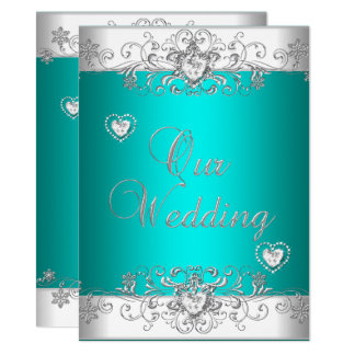 Teal Wedding Silver White Diamond Hearts Card