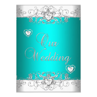 Exceptional Teal Wedding Silver White Diamond Hearts Card