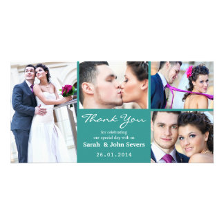 Teal Wedding Thank You Photo Card