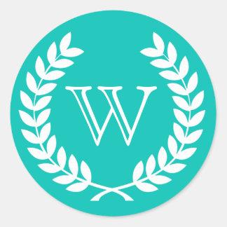 Teal Wheat Laurel Wreath Monogram Env Seals Stickers