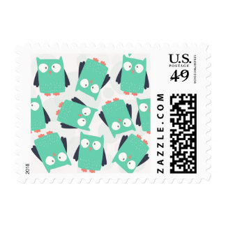 Teal Whimsical Owls Postage