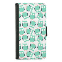 Teal Whimsical Owls Wallet Phone Case For Samsung Galaxy S5