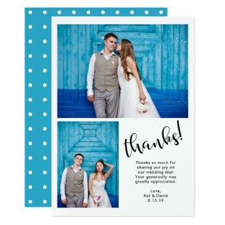 Teal Whimsy | Two Photo Wedding Thank You Card