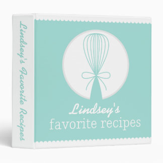 Teal Whisk Silhouette Recipe Binder