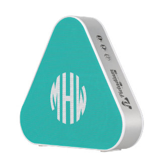 Teal White 3 Initials in a Circle Monogram Bluetooth Speaker