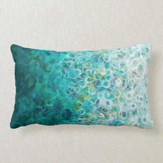 Teal White Abstract Circles Painting Ombre Pillow