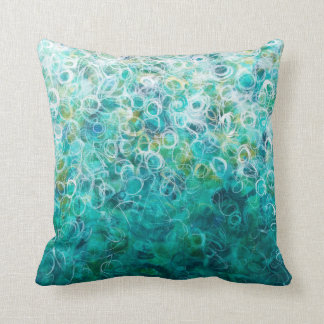 Teal White Abstract Circles Painting Print Pillow