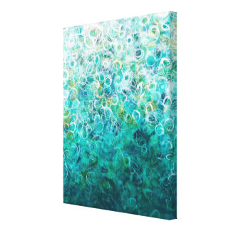 Teal White Abstract Ombre Painting 11x14 Canvas
