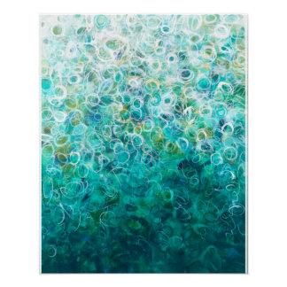 Teal White Abstract Ombre Painting 16x20 Print