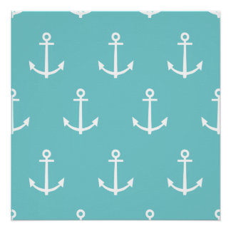 Teal White Anchors Pattern Poster
