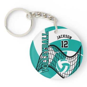 USA Themed Teal, White and Black Volleyball Design Keychain