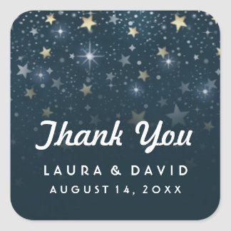 Teal White and Gold Stars Wedding Thank You Square Sticker
